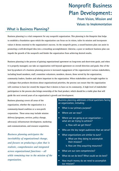 nonprofit business plan template word article related to