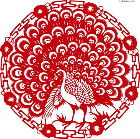 new year paper cutting patterns 4 designer paper cut peacock vector material