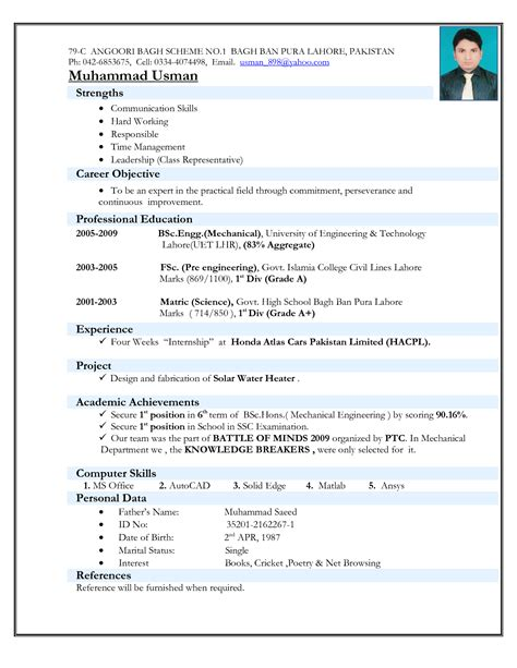 Engineering Resume Format by Engineers Resume Format Free Excel Templates