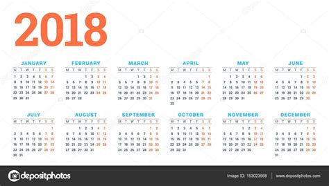 calendar 2018 year vector design stationery stock vector calendar for 2018 year on white background week starts