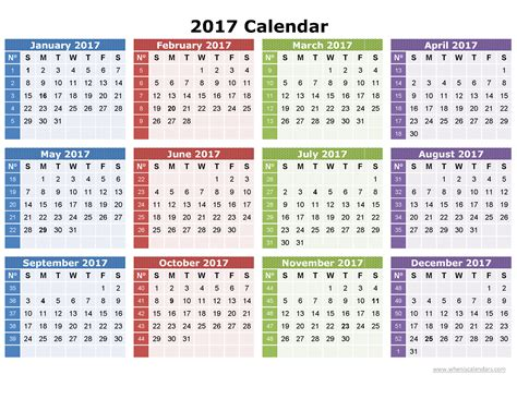 Calendar 2017 Calendar 2017 Yearly Calendar Printable One Page Template