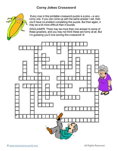 printable corny jokes a printable crossword puzzle all about corny jokes