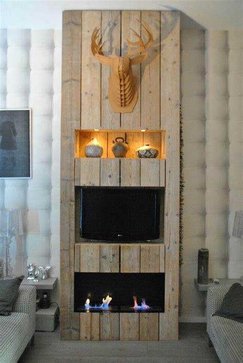 wandmeubel met haard  steigerhout living pinterest