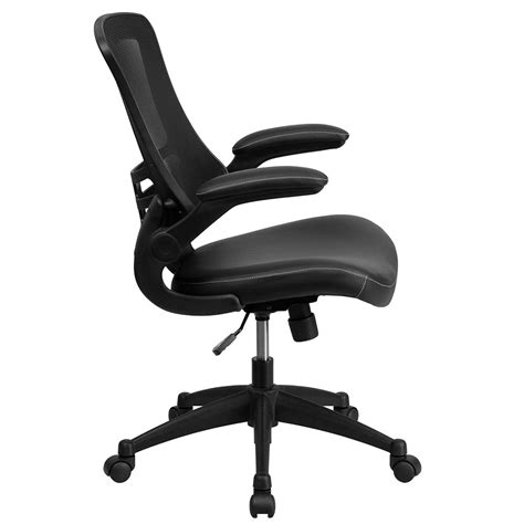 Leather Task Chair by Ergonomic Home Mid Back Black Mesh Swivel Task Chair