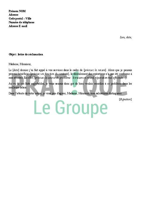 Lettre De Reclamation Free Facturation Lettre Type De R 233 Clamation Pratique Fr