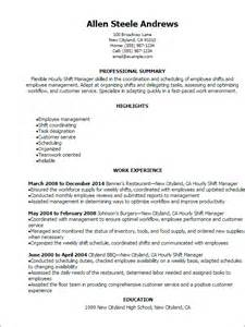 Shift Leader Sle Resume by Professional Hourly Shift Manager Resume Templates To Showcase Your Talent Myperfectresume