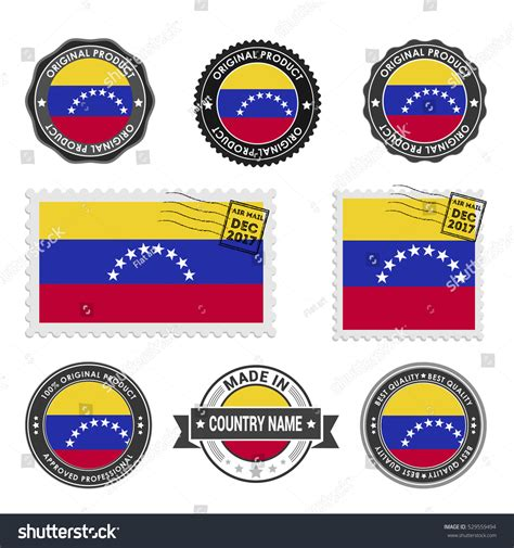 vector set made venezuela labels approved stock vector