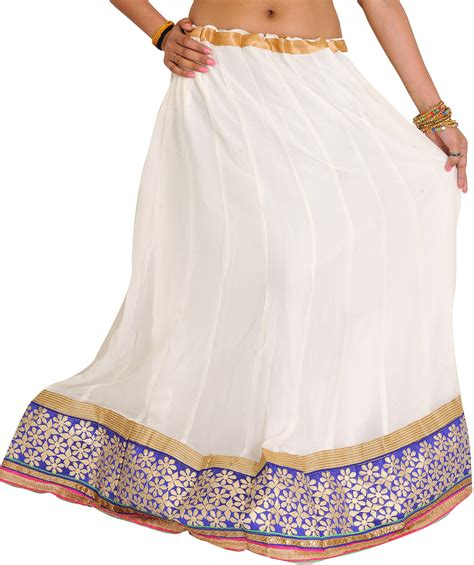 Wedding Border Sts by Egret White Ghagra With Floral Embroidered Patch Border