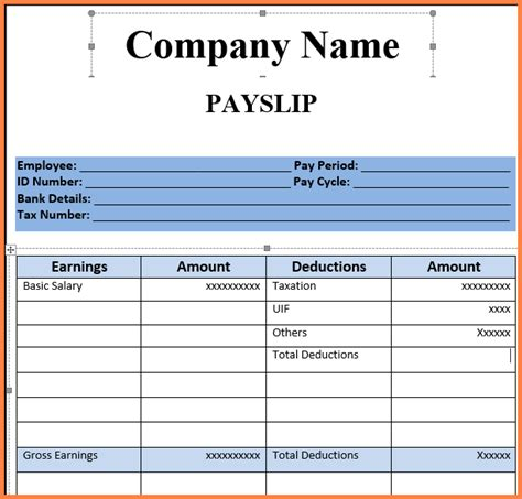 sle of payslip format payslip inspirational payroll and