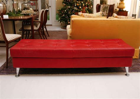red tufted bench vintage red leather tufted bench at 1stdibs