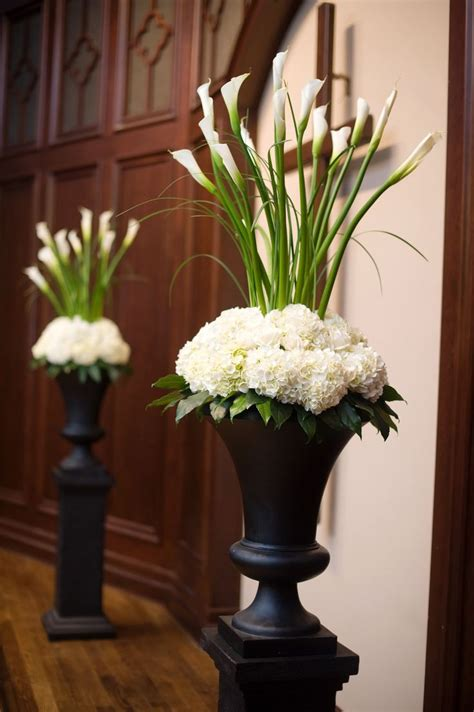 altar arrangement  white calla lilies  white