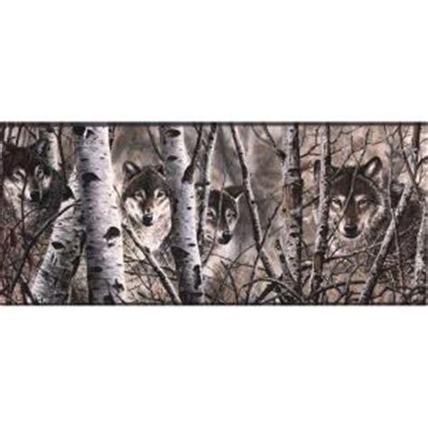 Cabin Wallpaper Border by York Wallcoverings Lake Forest Lodge Wolves Wallpaper