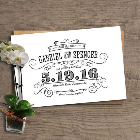 Wedding Announcement Rustic by Save The Date Card Wedding Announcement Vintage Rustic