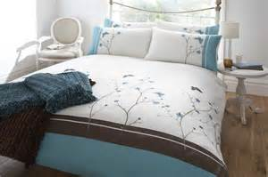 Teal cream floral duvet quilt cover embroidered
