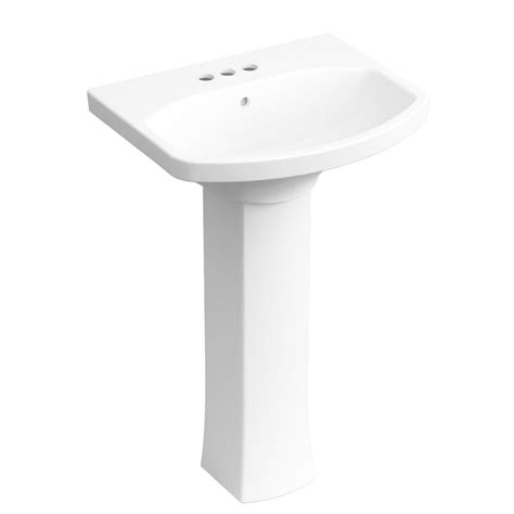 pedestal sink faucets kohler elmbrook 24 in pedestal sink in white with 4 in