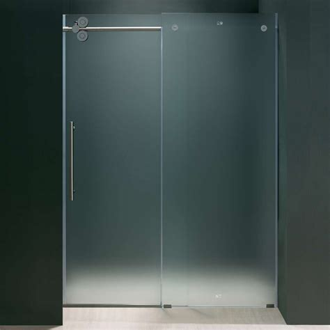Frosted Glass Sliding Shower Doors Frameless Glass Vigo 60 Inch Frameless Frosted Glass