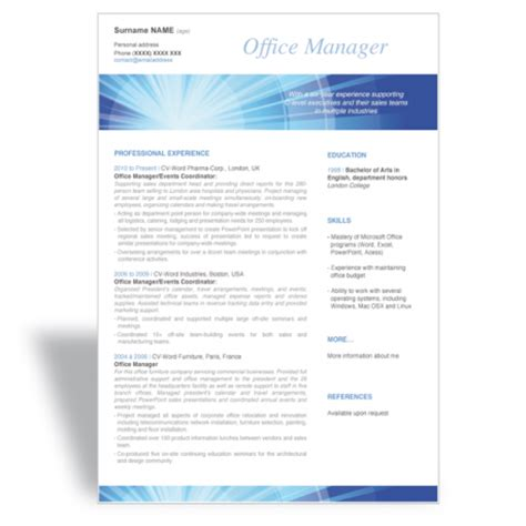 Resume Words For Office Manager And Write A Great Word Cv R 233 Sum 233 Template Office Manager