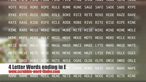 4 Letter Words Remove 4 letter words ending in e