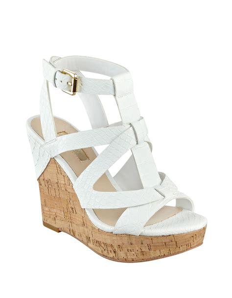 guess harlea platform wedge sandals in white lyst