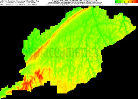 kentucky elevation map free letcher county kentucky topographic maps