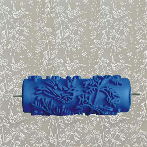 pattern paint roller for wall decoration 5inch blue rubber roller wall decoration painting roller