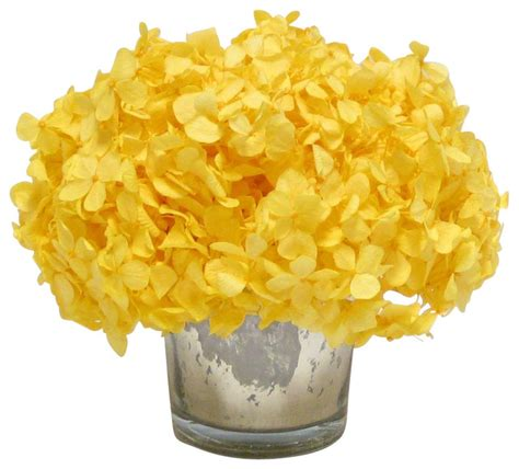 Mercury Glass Chandeliers Mercury Glass Votive Yellow Hydrangea Transitional