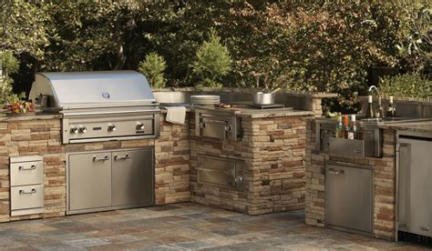 kitchen inspiring prefab outdoor kitchen grill design with l shaped using dark gray tile top outdoor kitchen grills weber outdoor kitchen grills