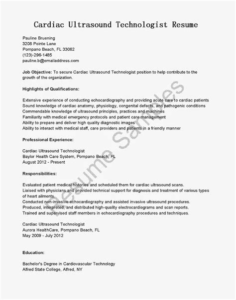 Cardiac Resume Cover Letter Great Sle Resume Resume Sles Cardiac Ultrasound Technologist Resume Sle