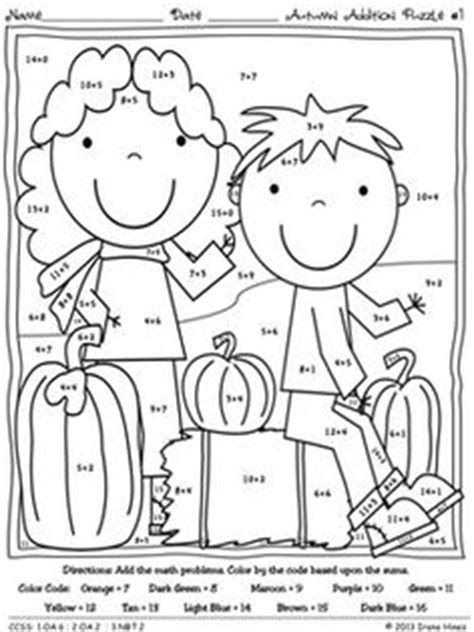 fall coloring pages color by number fall math color by number addition worksheets expanded