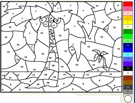 rainbow color by number coloring pages
