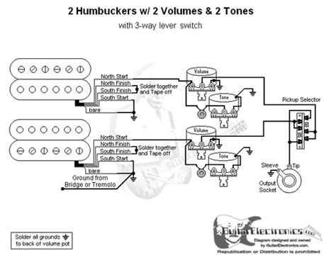 2 humbuckers 3 way lever switch 2 volumes 2 tones