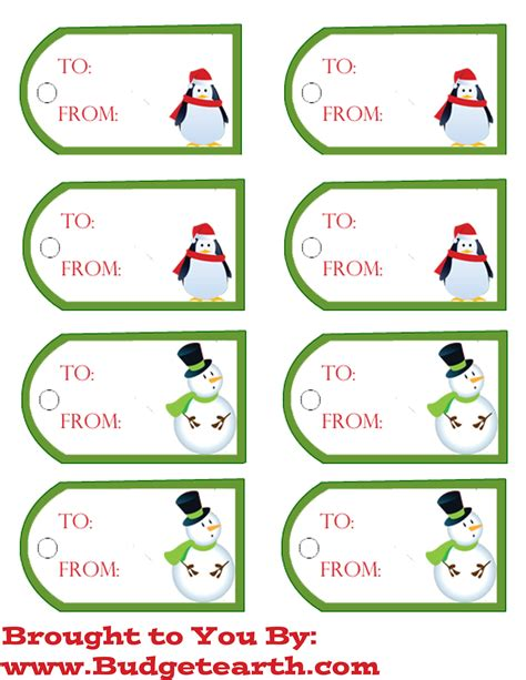free printable christmas gift tags budget earth