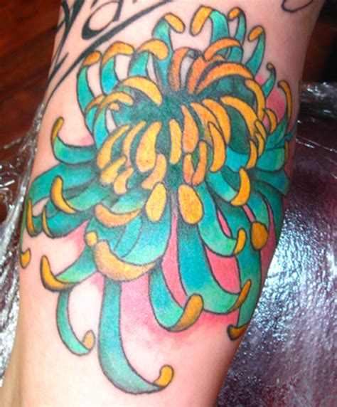 blue tattoo ink purple chrysanthemum