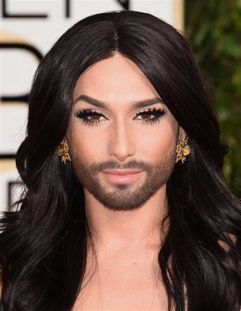 photos conchita wurst s beard at 2015 golden globes