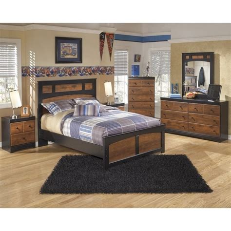6 piece panel bed edgewood bedroom set in distressed warm ashley aimwell 6 piece wood full panel bedroom set in
