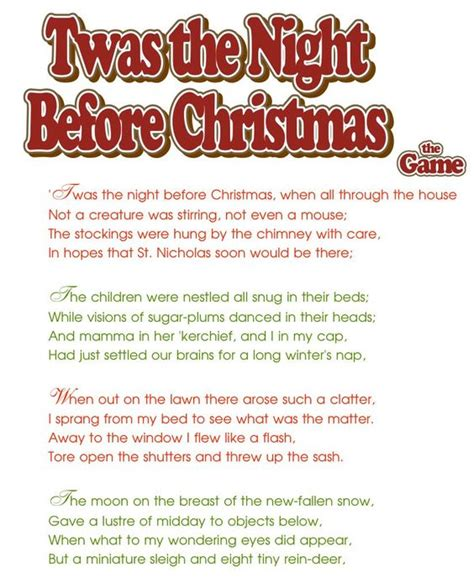 printable version of twas the night before christmas twas the night before christmas party game print each