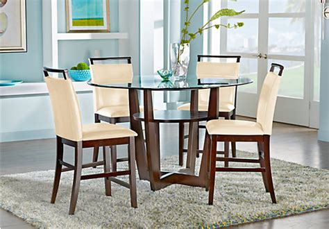 dining room sets bar height ciara espresso 5 pc counter height dining set glass top