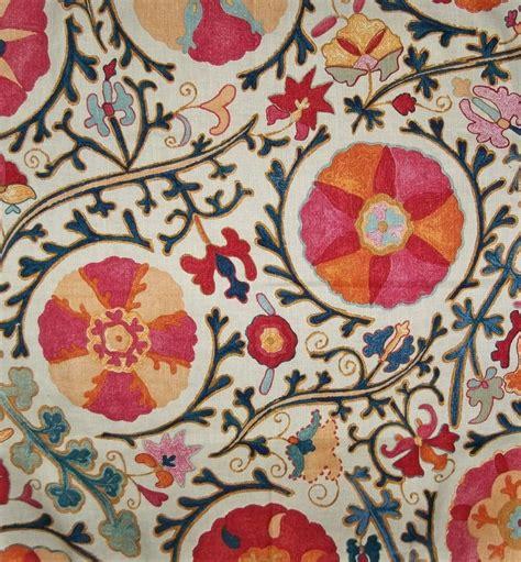 Suzani Upholstery Fabric brunschwig fils dzhambul suzani medallions linen fabric 10
