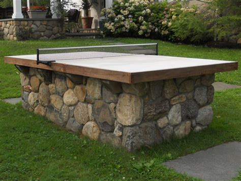 ping pong table area fieldstone ping pong table omg what a great idea for the