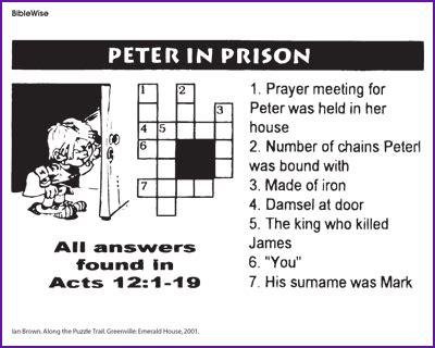 printable games for jail peter in prison crossword kids korner biblewise