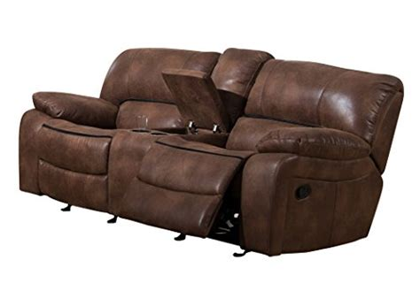 reclining loveseat with console cup holders christies home living plush 2 seat double glider