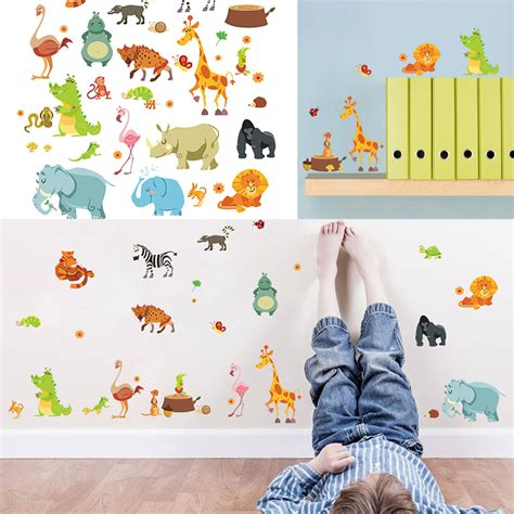 nursery jungle animals decal vinyl diy wall stickers zoo mural home decor tosave