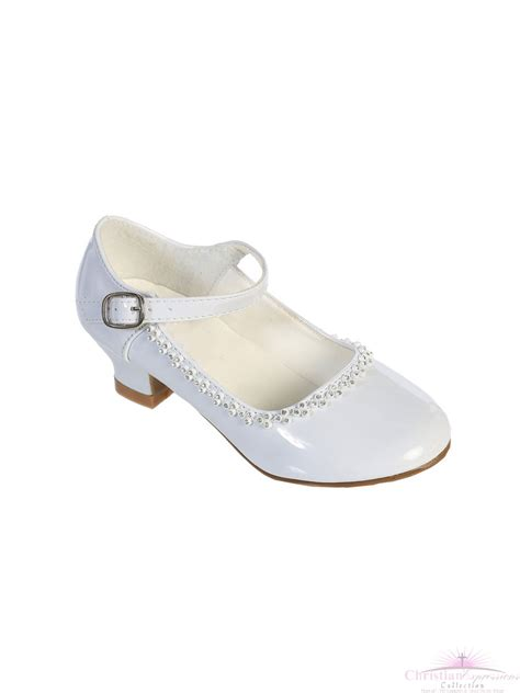 communion shoes rhinestone trim communion shoes white
