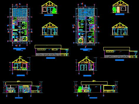 bungalow project  dwg design full project  autocad