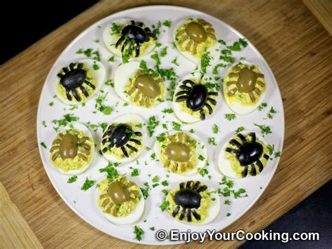 decorating deviled eggs for xmas spider decoration for deviled eggs recipe my food recipes tips