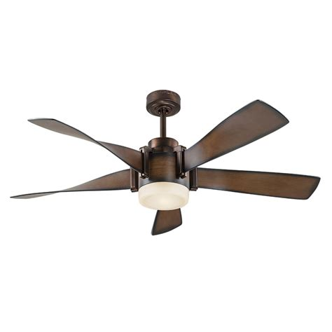 Ceiling Fans With Lights And Remotes Shop Kichler 52 In Mediterranean Walnut With Bronze Accents Integrated Led Indoor Downrod Mount