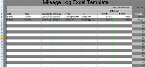 Microsoft Excel Mileage Log Template by Mileage Log Excel Template Xlstemplates