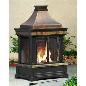 Outdoor Metal Fireplaces - sunjoy brownston steel wood outdoor fireplace amp reviews wayfair