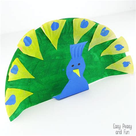 Peacock Paper Plate Craft - paper plate peacock crafts for easy peasy and
