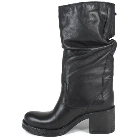 mid biker boots with heel in genuine leather black